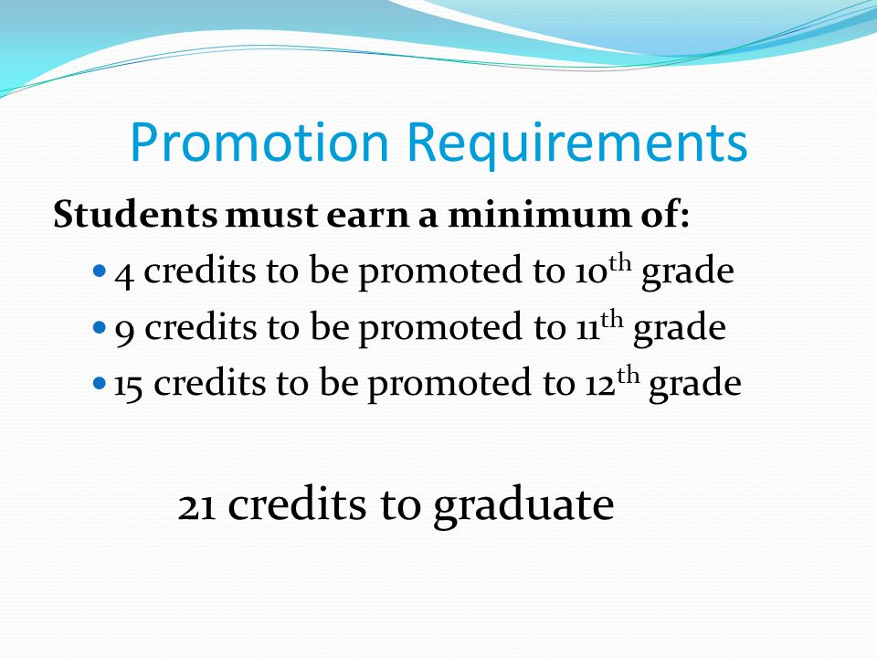 Promotion Requirements Students must earn a minimum of: 4 credits to be promoted to 10 th grade 9 credits to be promoted to 11 th grade 15 credits to be promoted to 12 th grade 21 credits to graduate