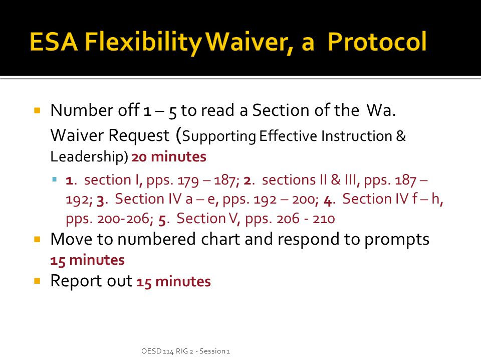  Number off 1 – 5 to read a Section of the Wa. Waiver Request ( Supporting Effective Instruction & Leadership) 20 minutes  1. section I, pps. 179 –