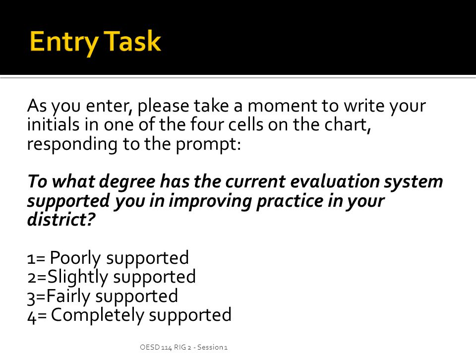 As you enter, please take a moment to write your initials in one of the four cells on the chart, responding to the prompt: To what degree has the current evaluation system supported you in improving practice in your district.