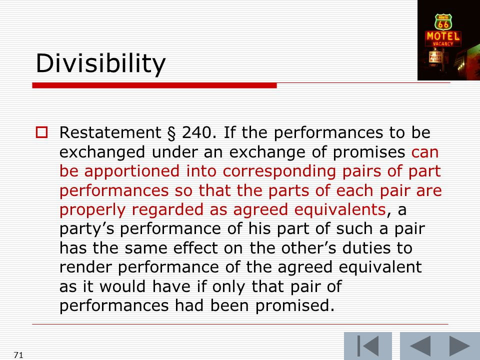 71 Divisibility  Restatement § 240.