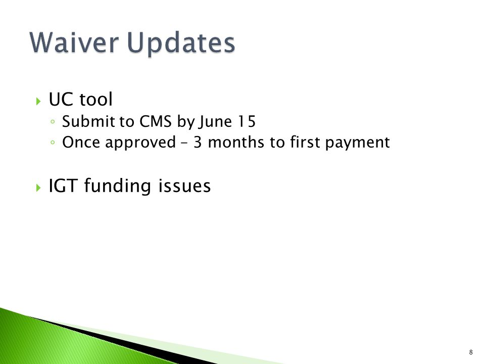  June 15 ◦ Finalize UC and IGT numbers for Region 10  June 30 ◦ Finalize DSRIP pricing strategy ◦ Plan for 2012 DSRIP  September 1 ◦ RHP plan due to HHSC ◦ UC tools submitted 9