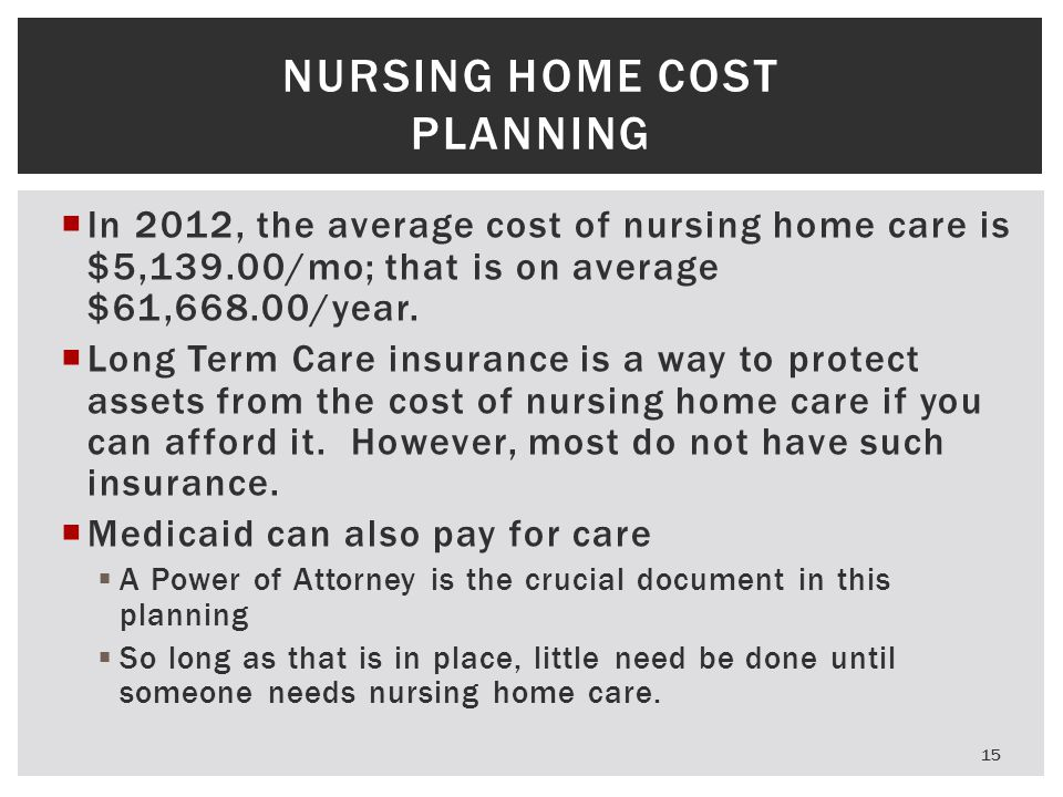  In 2012, the average cost of nursing home care is $5,139.00/mo; that is on average $61,668.00/year.  Long Term Care insurance is a way to protect a