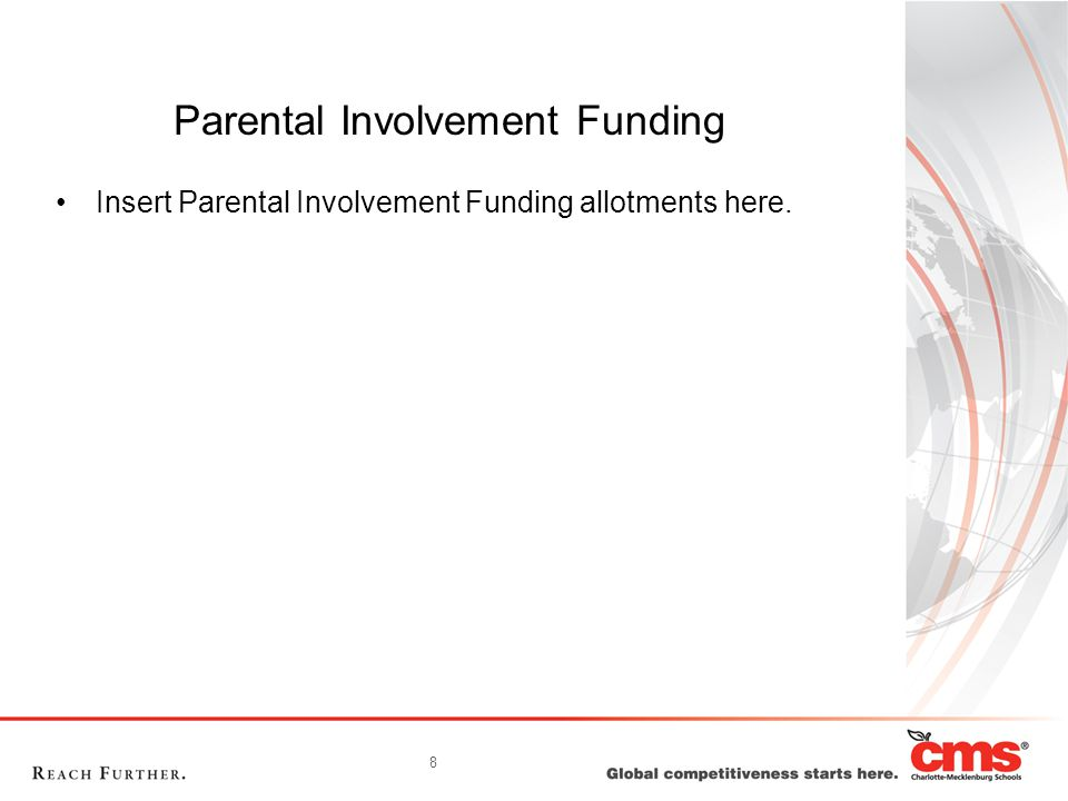 8 Parental Involvement Funding Insert Parental Involvement Funding allotments here.