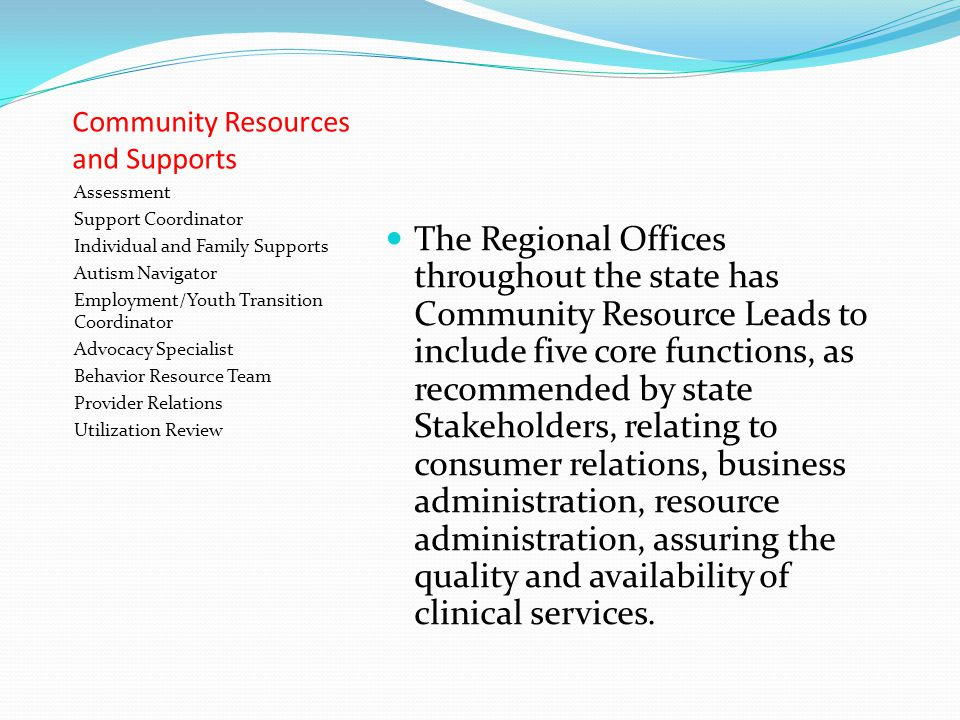 Community Resources and Supports Assessment Support Coordinator Individual and Family Supports Autism Navigator Employment/Youth Transition Coordinator Advocacy Specialist Behavior Resource Team Provider Relations Utilization Review The Regional Offices throughout the state has Community Resource Leads to include five core functions, as recommended by state Stakeholders, relating to consumer relations, business administration, resource administration, assuring the quality and availability of clinical services.