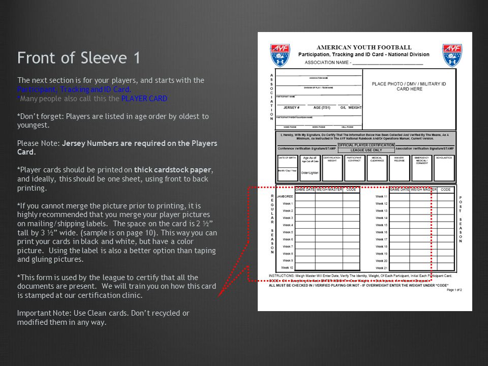 Front of Sleeve 1 The next section is for your players, and starts with the Participant, Tracking and ID Card.