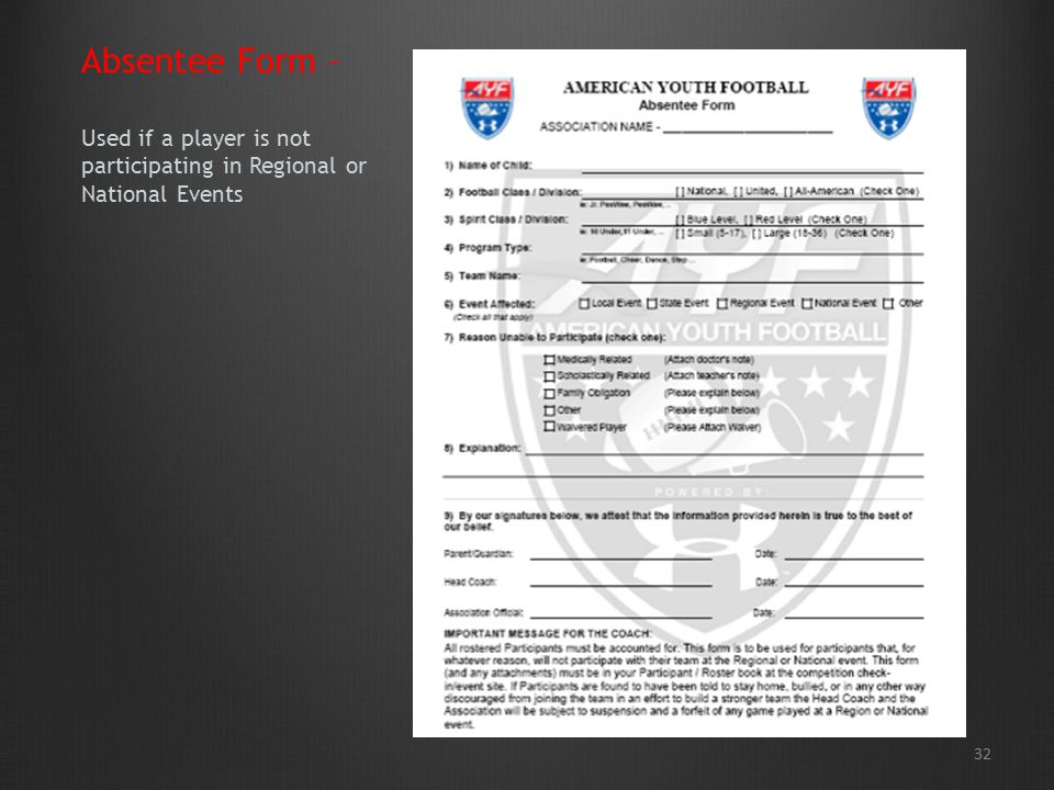 32 Absentee Form – Used if a player is not participating in Regional or National Events