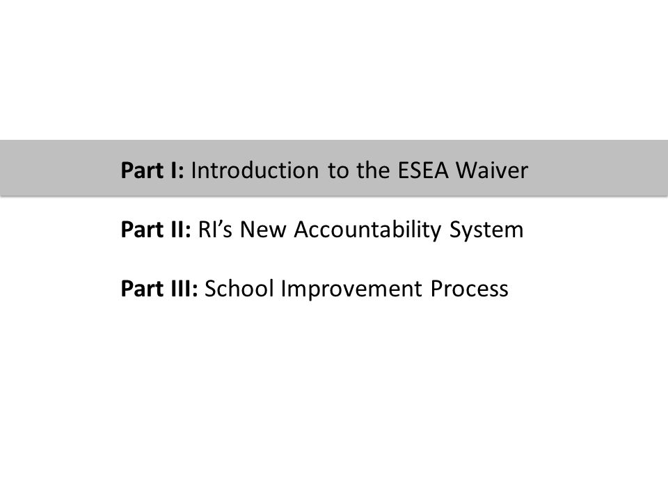 © 2012 Providence Public School District 6 Part I: Introduction to the ESEA Waiver Part II: RI's New Accountability System Part III: School Improvement Process