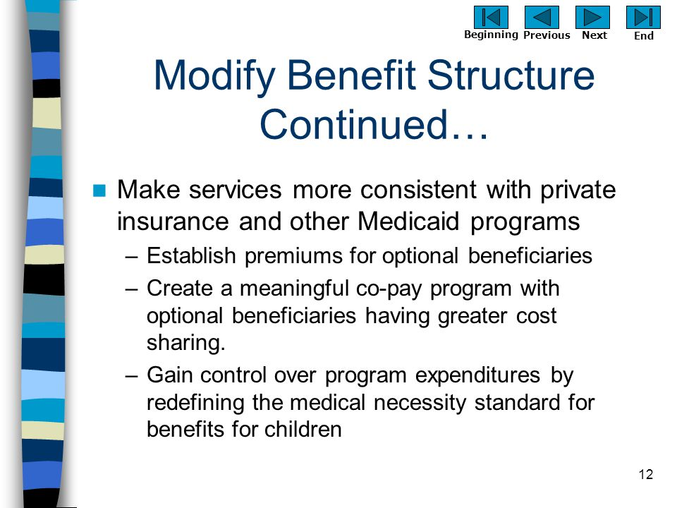 Previous Next Beginning End 12 Modify Benefit Structure Continued… Make services more consistent with private insurance and other Medicaid programs –E