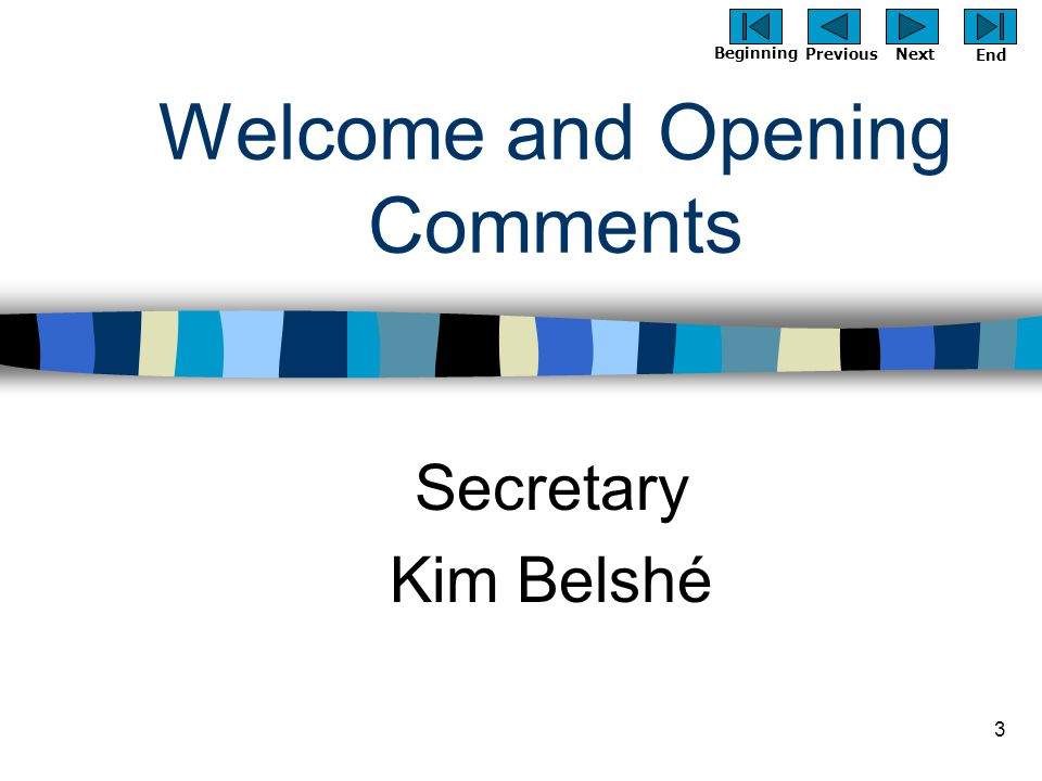 Previous Next Beginning End 3 Welcome and Opening Comments Secretary Kim Belshé