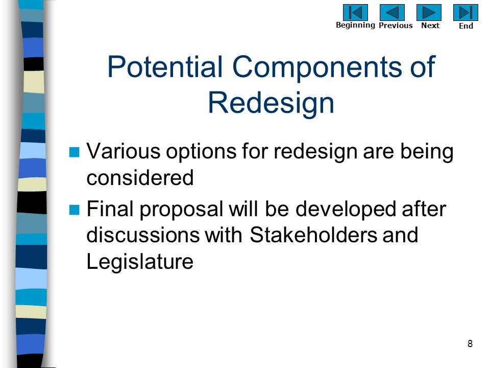 Previous Next Beginning End 8 Potential Components of Redesign Various options for redesign are being considered Final proposal will be developed afte