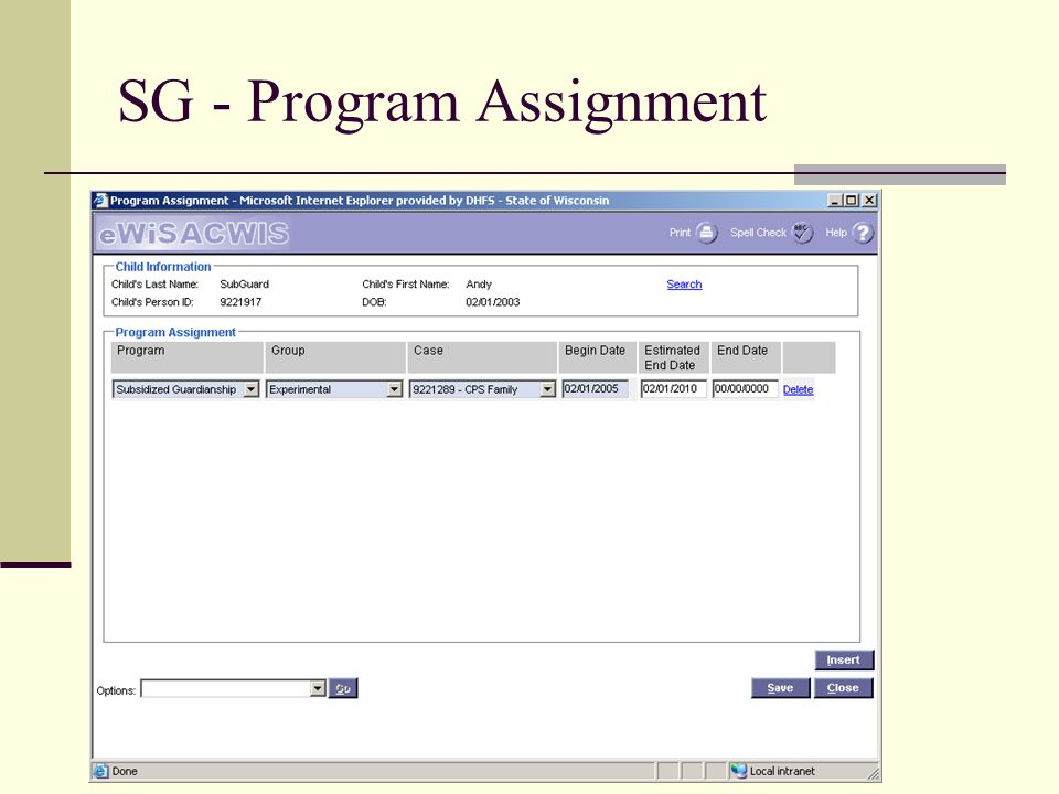 SG - Program Assignment