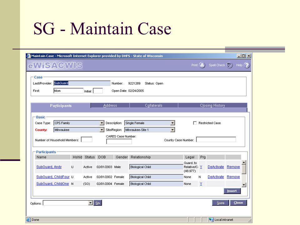 SG - Maintain Case