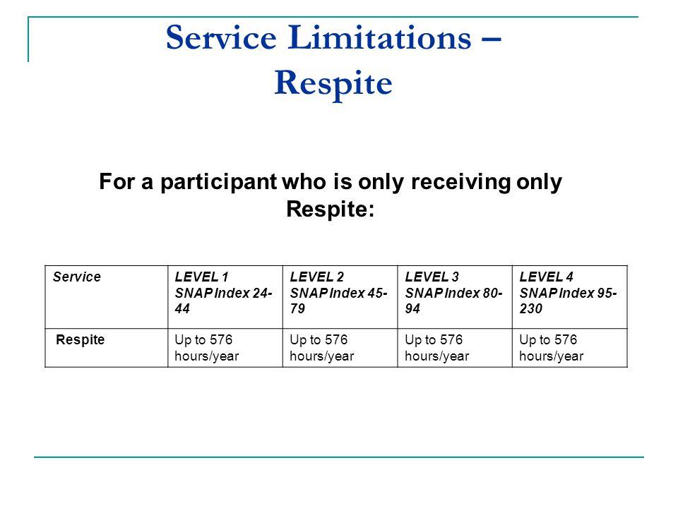 ServiceLEVEL 1 SNAP Index 24- 44 LEVEL 2 SNAP Index 45- 79 LEVEL 3 SNAP Index 80- 94 LEVEL 4 SNAP Index 95- 230 RespiteUp to 576 hours/year Service Li