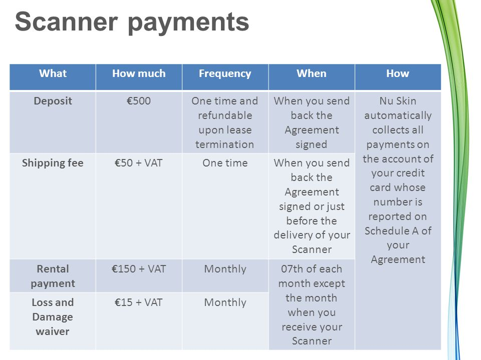 Scanner payments WhatHow muchFrequencyWhenHow Deposit€500One time and refundable upon lease termination When you send back the Agreement signed Nu Skin automatically collects all payments on the account of your credit card whose number is reported on Schedule A of your Agreement Shipping fee€50 + VATOne timeWhen you send back the Agreement signed or just before the delivery of your Scanner Rental payment €150 + VATMonthly07th of each month except the month when you receive your Scanner Loss and Damage waiver €15 + VATMonthly