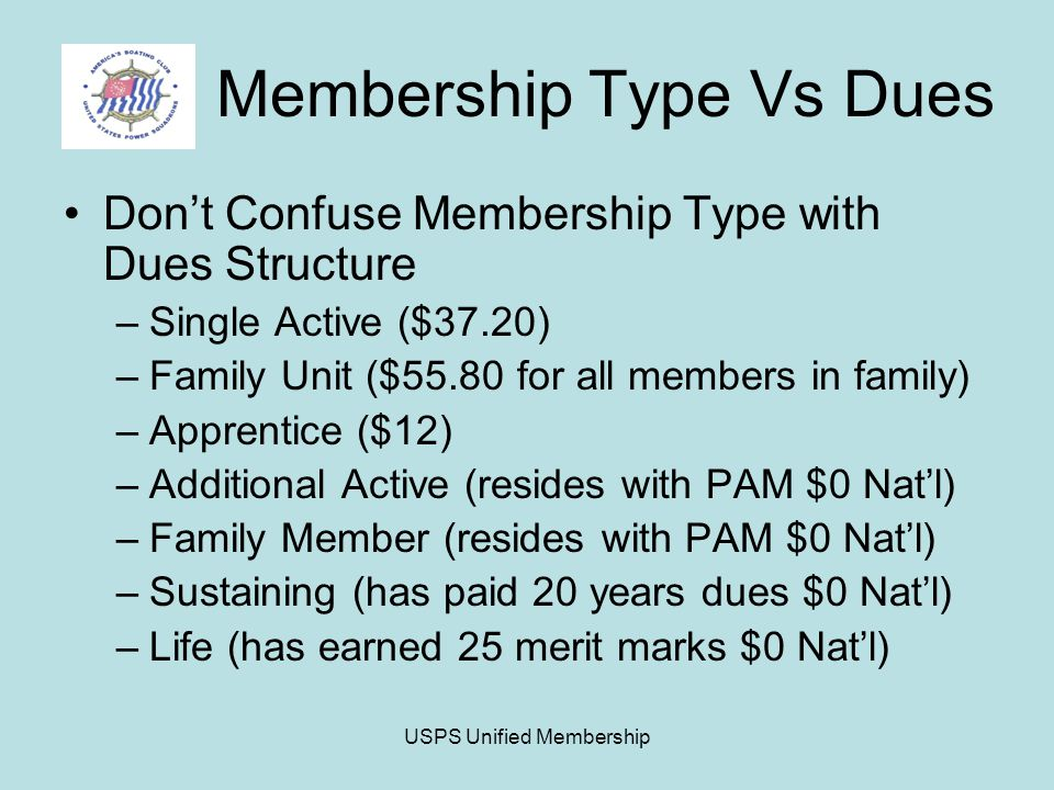 USPS Unified Membership Membership Type Vs Dues Don't Confuse Membership Type with Dues Structure –Single Active ($37.20) –Family Unit ($55.80 for all members in family) –Apprentice ($12) –Additional Active (resides with PAM $0 Nat'l) –Family Member (resides with PAM $0 Nat'l) –Sustaining (has paid 20 years dues $0 Nat'l) –Life (has earned 25 merit marks $0 Nat'l)