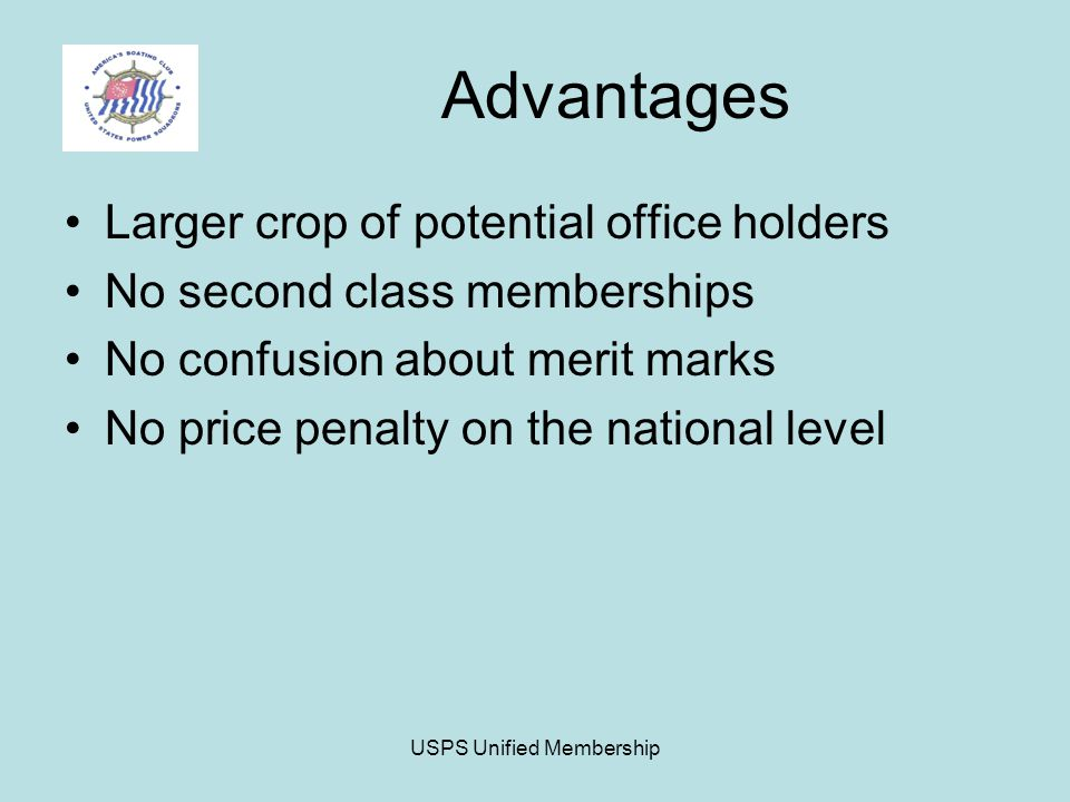 USPS Unified Membership Advantages Larger crop of potential office holders No second class memberships No confusion about merit marks No price penalty on the national level