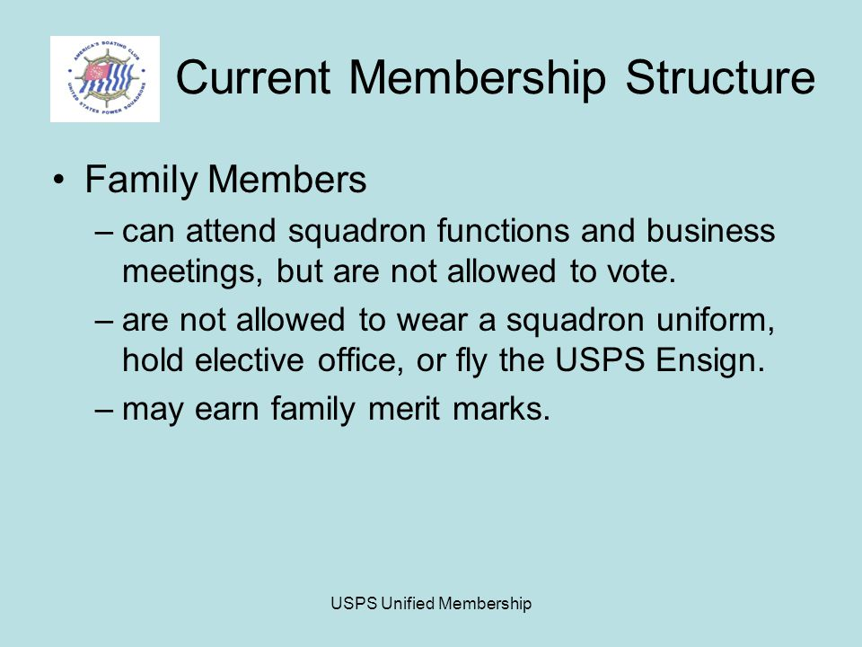 USPS Unified Membership Current Membership Structure Family Members –can attend squadron functions and business meetings, but are not allowed to vote.