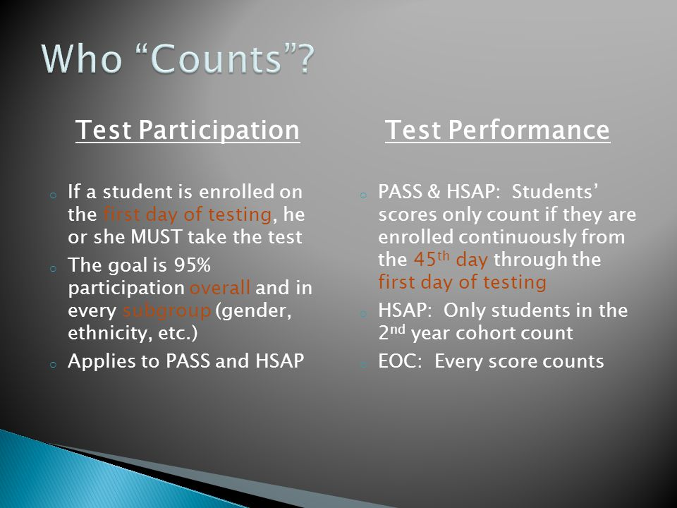 Test Participation o If a student is enrolled on the first day of testing, he or she MUST take the test o The goal is 95% participation overall and in every subgroup (gender, ethnicity, etc.) o Applies to PASS and HSAP Test Performance o PASS & HSAP: Students' scores only count if they are enrolled continuously from the 45 th day through the first day of testing o HSAP: Only students in the 2 nd year cohort count o EOC: Every score counts