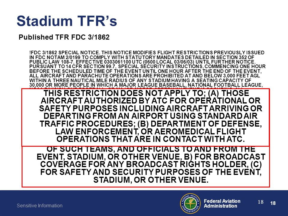 18 Federal Aviation Administration Sensitive Information 18 Stadium TFR's Published TFR FDC 3/1862 !FDC 3/1862 SPECIAL NOTICE. THIS NOTICE MODIFIES FL