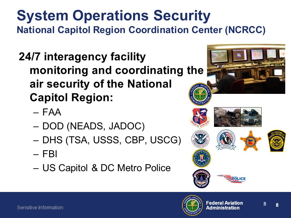 8 Federal Aviation Administration Sensitive Information 8 24/7 interagency facility monitoring and coordinating the air security of the National Capit