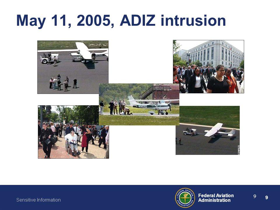 9 Federal Aviation Administration Sensitive Information 9 May 11, 2005, ADIZ intrusion