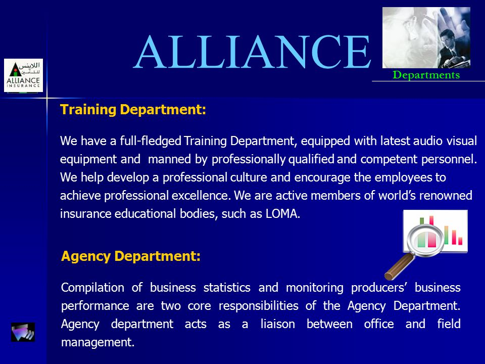 ALLIANCE Training Department: We have a full-fledged Training Department, equipped with latest audio visual equipment and manned by professionally qua