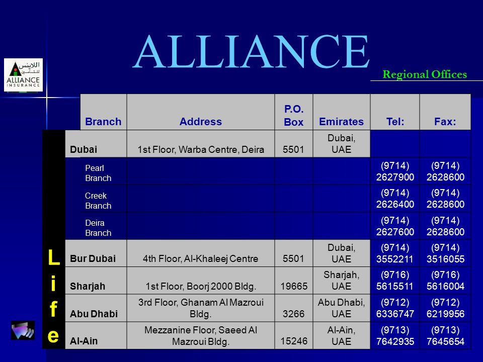 ALLIANCE Regional Offices BranchAddress P.O. BoxEmiratesTel:Fax: LifeLife Dubai1st Floor, Warba Centre, Deira5501 Dubai, UAE Pearl Branch (9714) 26279