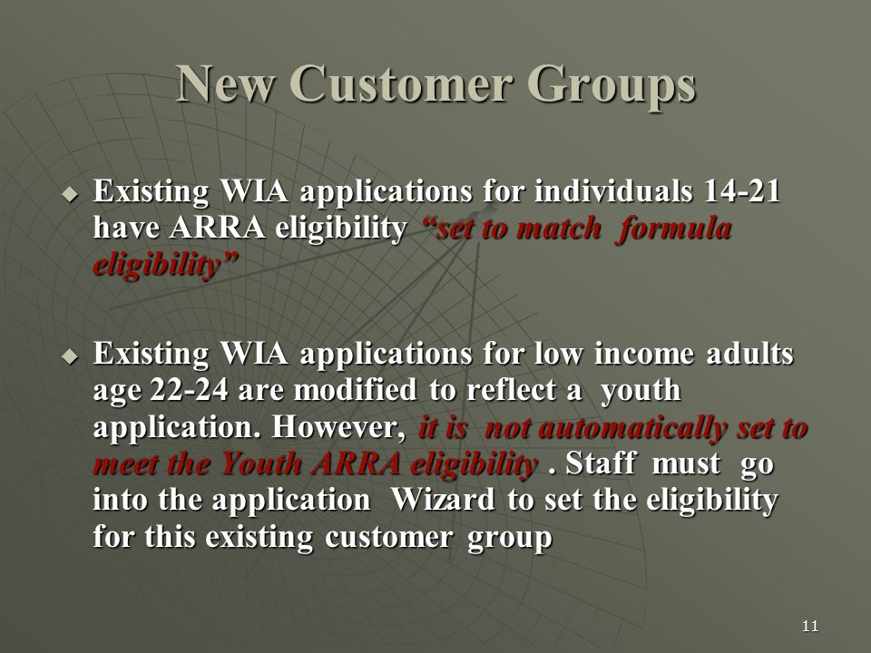 """11 New Customer Groups  Existing WIA applications for individuals 14-21 have ARRA eligibility """"set to match formula eligibility""""  Existing WIA appli"""