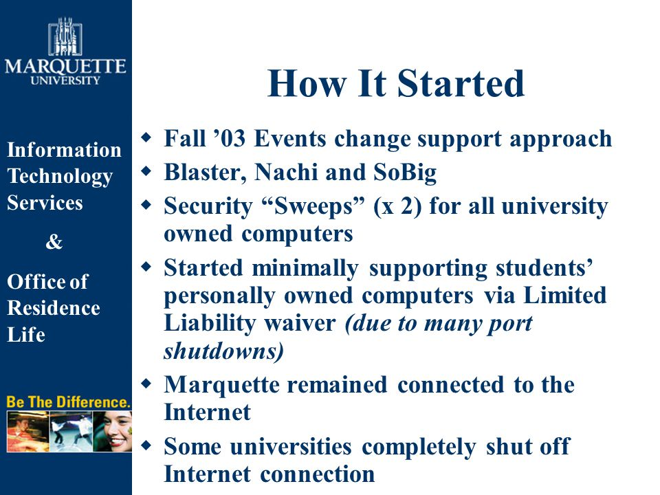 Information Technology Services & Office of Residence Life How It Started  Fall '03 Events change support approach  Blaster, Nachi and SoBig  Security Sweeps (x 2) for all university owned computers  Started minimally supporting students' personally owned computers via Limited Liability waiver (due to many port shutdowns)  Marquette remained connected to the Internet  Some universities completely shut off Internet connection