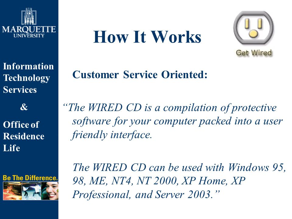 Information Technology Services & Office of Residence Life How It Works Customer Service Oriented: The WIRED CD is a compilation of protective software for your computer packed into a user friendly interface.
