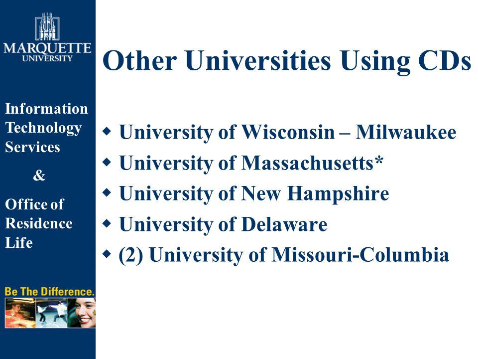Information Technology Services & Office of Residence Life Other Universities Using CDs  University of Wisconsin – Milwaukee  University of Massachu