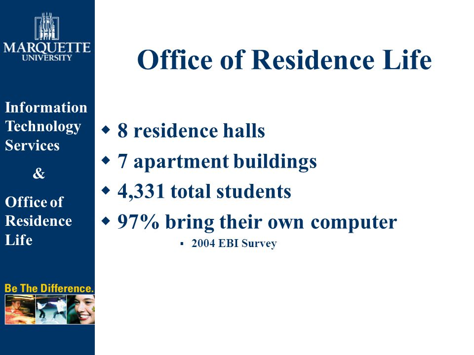 Information Technology Services & Office of Residence Life  8 residence halls  7 apartment buildings  4,331 total students  97% bring their own co
