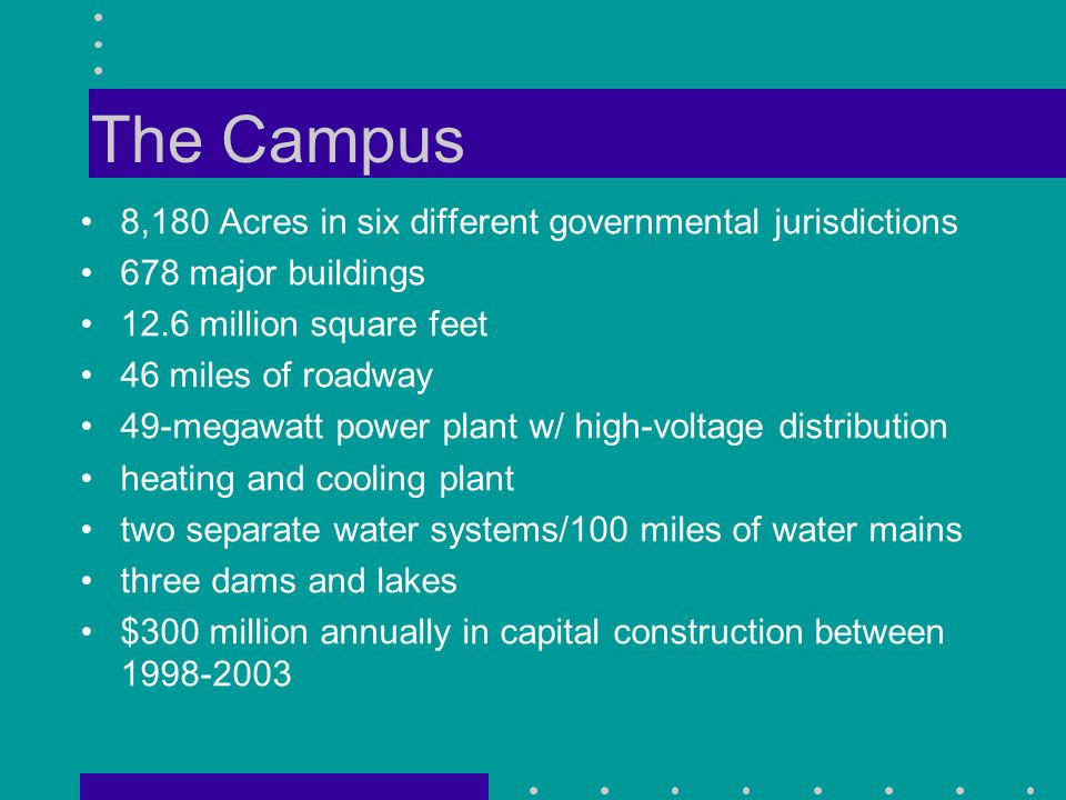 The Campus 8,180 Acres in six different governmental jurisdictions 678 major buildings 12.6 million square feet 46 miles of roadway 49-megawatt power plant w/ high-voltage distribution heating and cooling plant two separate water systems/100 miles of water mains three dams and lakes $300 million annually in capital construction between 1998-2003