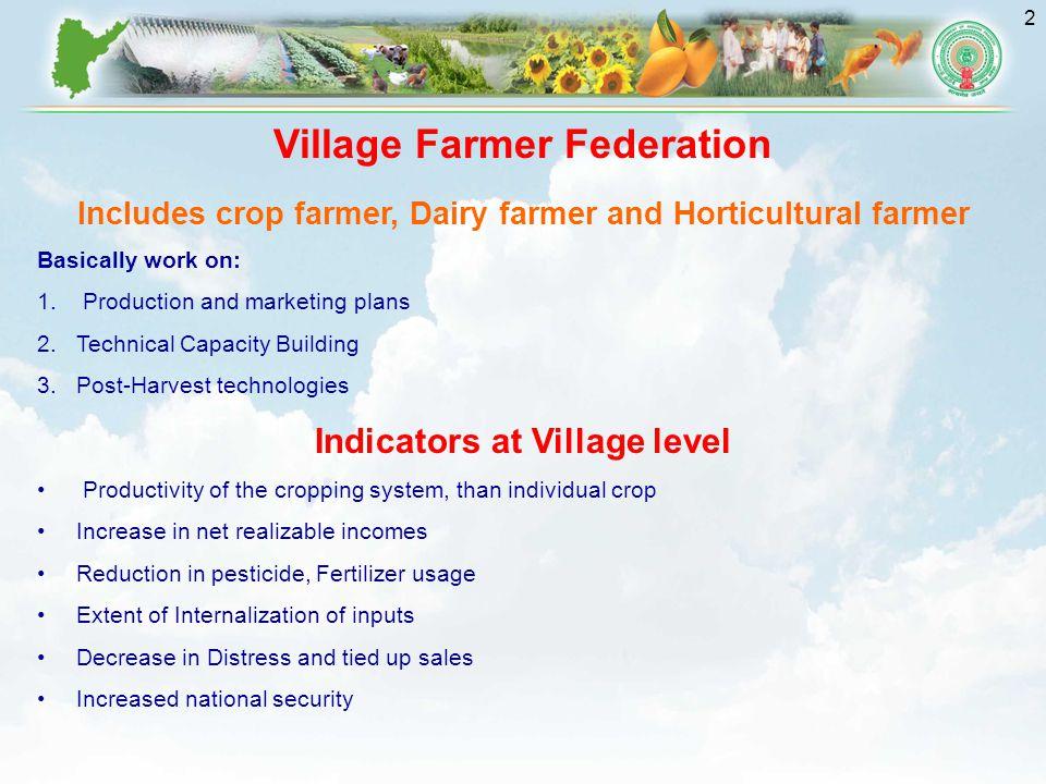 2 Village Farmer Federation Includes crop farmer, Dairy farmer and Horticultural farmer Basically work on: 1.