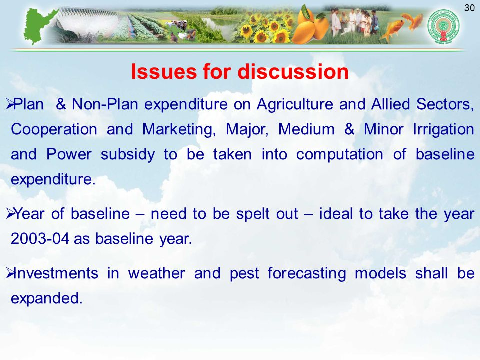 30 Issues for discussion  Plan & Non-Plan expenditure on Agriculture and Allied Sectors, Cooperation and Marketing, Major, Medium & Minor Irrigation and Power subsidy to be taken into computation of baseline expenditure.