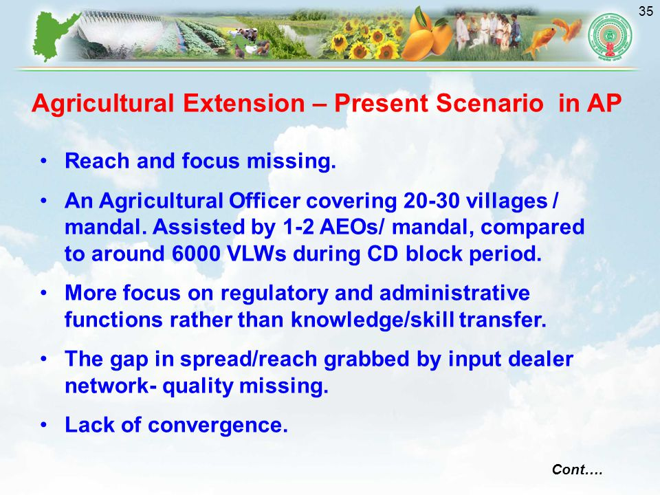 35 Agricultural Extension – Present Scenario in AP Reach and focus missing.