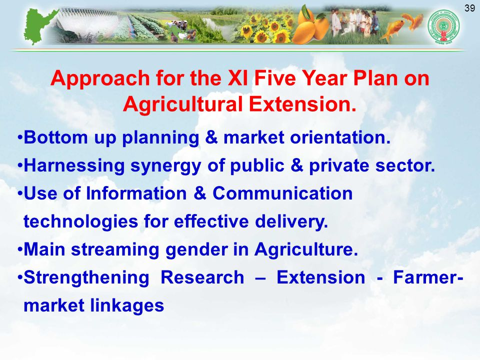 39 Bottom up planning & market orientation.Harnessing synergy of public & private sector.