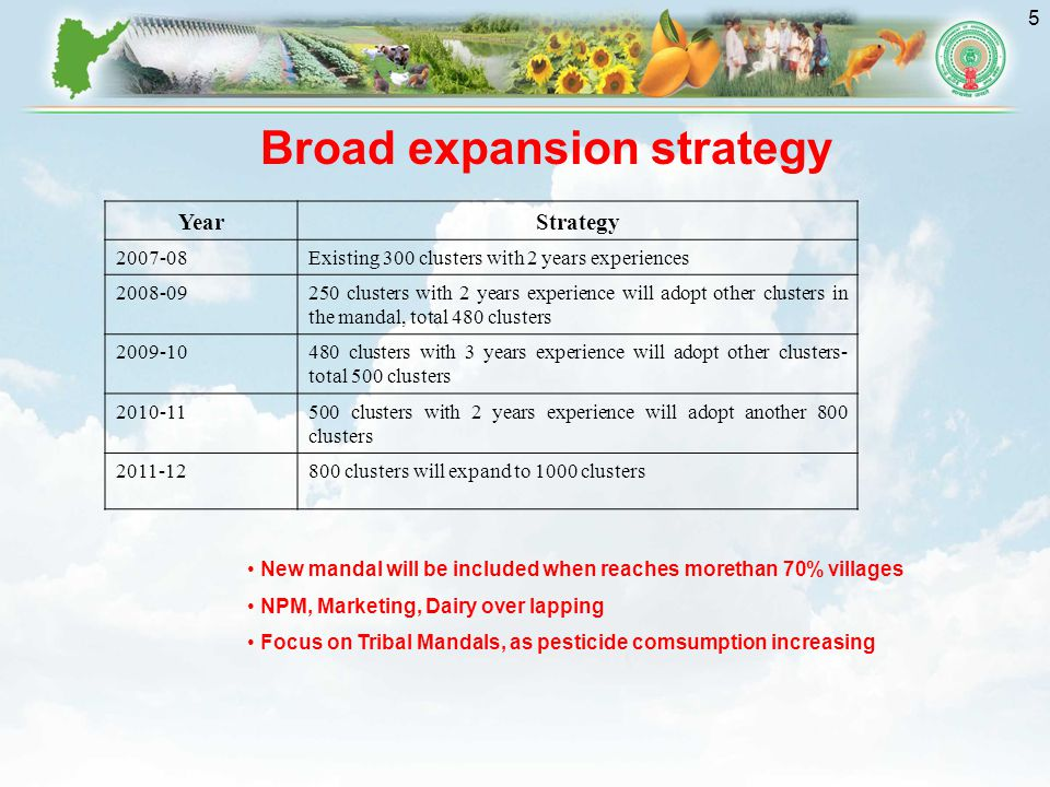 5 Broad expansion strategy YearStrategy 2007-08Existing 300 clusters with 2 years experiences 2008-09250 clusters with 2 years experience will adopt other clusters in the mandal, total 480 clusters 2009-10480 clusters with 3 years experience will adopt other clusters- total 500 clusters 2010-11500 clusters with 2 years experience will adopt another 800 clusters 2011-12800 clusters will expand to 1000 clusters New mandal will be included when reaches morethan 70% villages NPM, Marketing, Dairy over lapping Focus on Tribal Mandals, as pesticide comsumption increasing