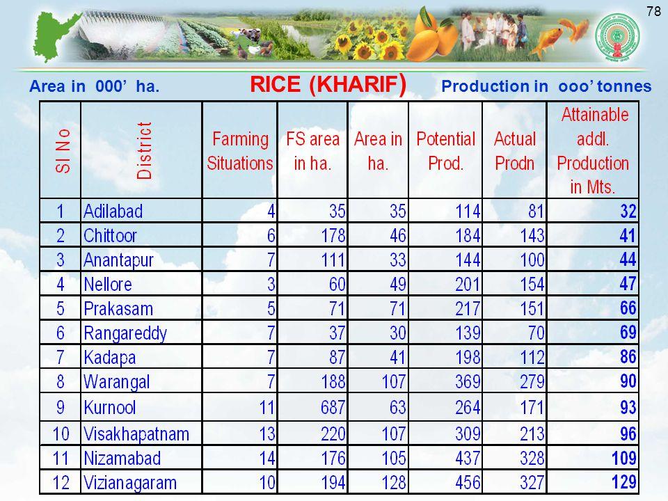 78 RICE (KHARIF ) Area in 000' ha. Production in ooo' tonnes