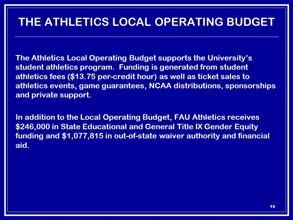 15 THE ATHLETICS LOCAL OPERATING BUDGET The Athletics Local Operating Budget supports the University's student athletics program.