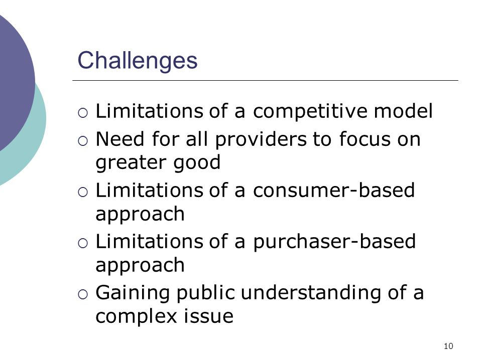 10 Challenges  Limitations of a competitive model  Need for all providers to focus on greater good  Limitations of a consumer-based approach  Limitations of a purchaser-based approach  Gaining public understanding of a complex issue