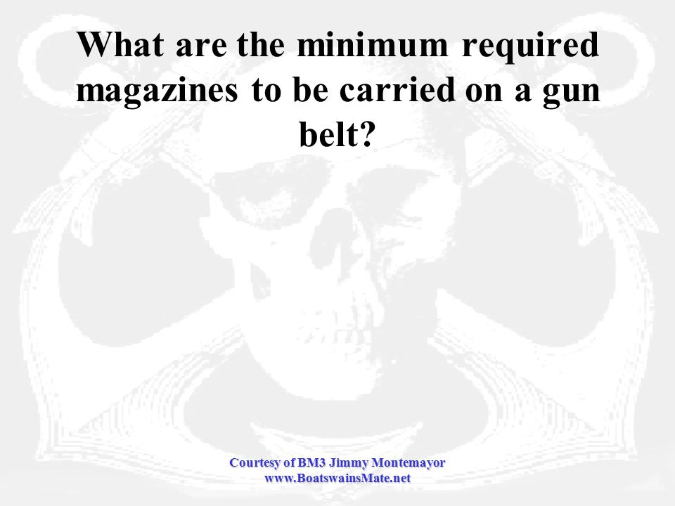 Courtesy of BM3 Jimmy Montemayor www.BoatswainsMate.net What are the minimum required magazines to be carried on a gun belt