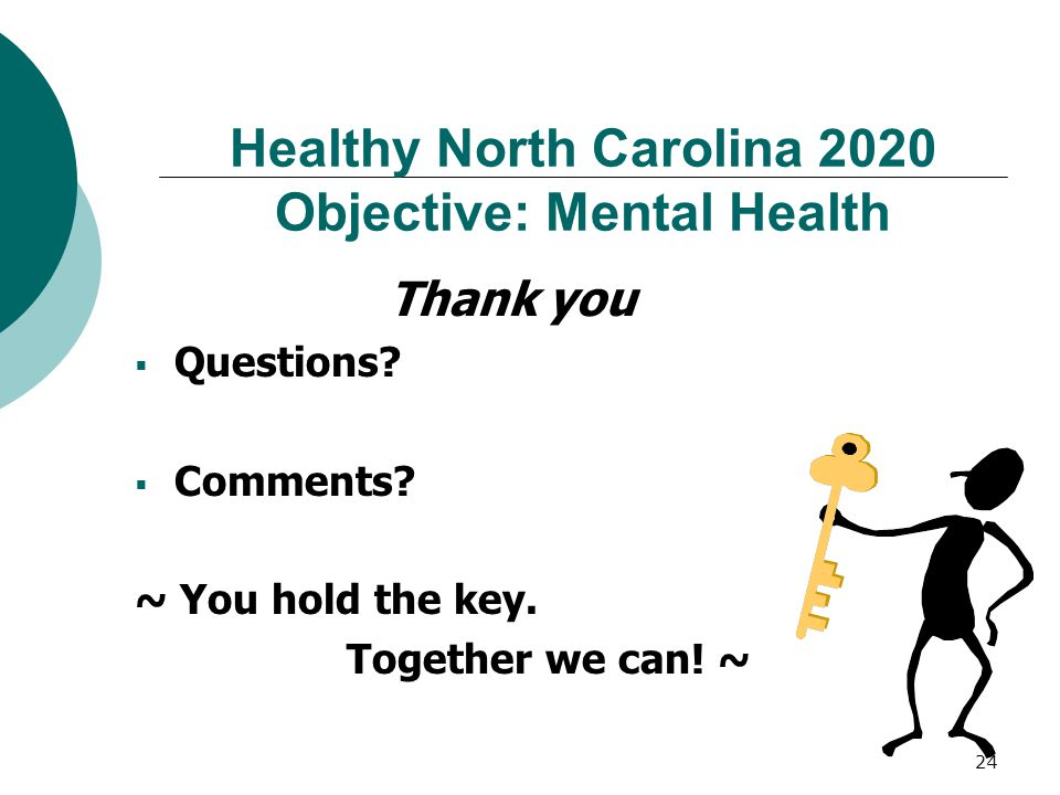 24 Healthy North Carolina 2020 Objective: Mental Health Thank you  Questions.