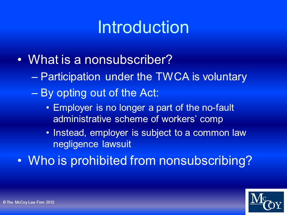 Introduction What is a nonsubscriber.