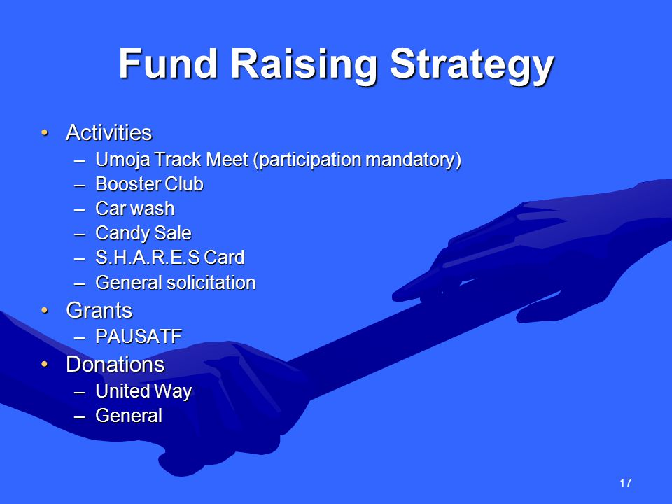 17 Fund Raising Strategy ActivitiesActivities –Umoja Track Meet (participation mandatory) –Booster Club –Car wash –Candy Sale –S.H.A.R.E.S Card –General solicitation GrantsGrants –PAUSATF DonationsDonations –United Way –General