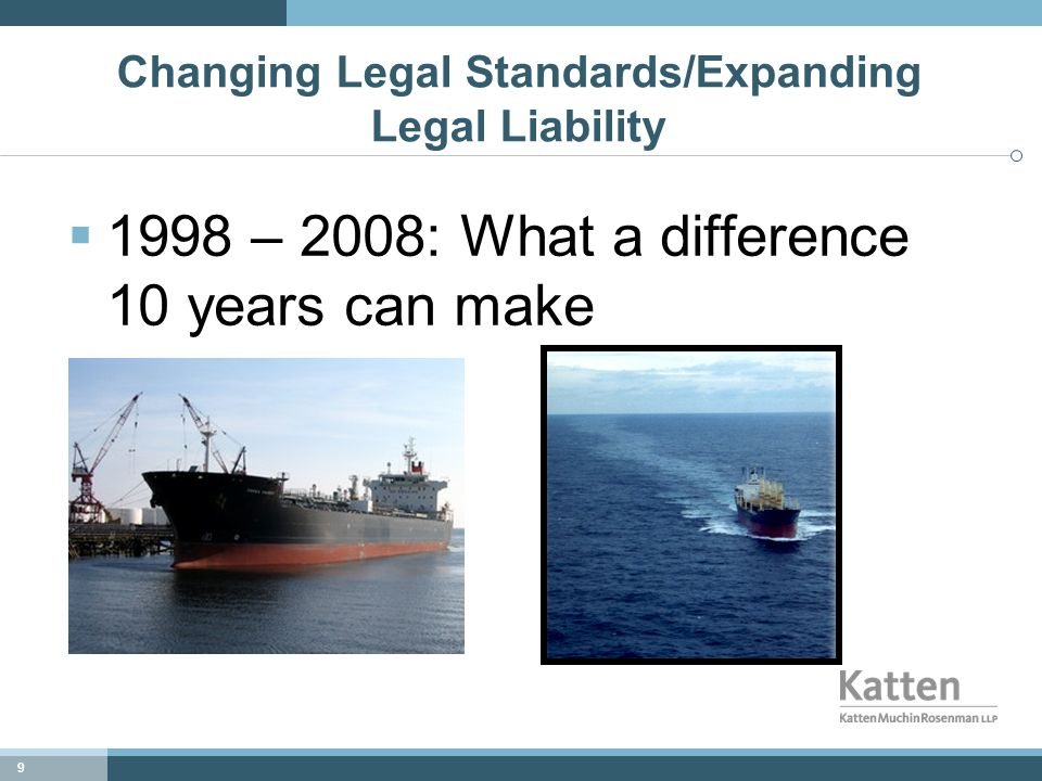 9 Changing Legal Standards/Expanding Legal Liability  1998 – 2008: What a difference 10 years can make