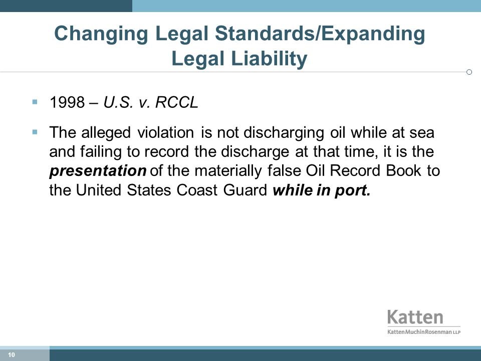 10 Changing Legal Standards/Expanding Legal Liability  1998 – U.S.
