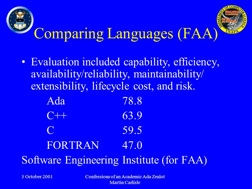 3 October 2001Confessions of an Academic Ada Zealot Martin Carlisle Comparing Languages (FAA) Evaluation included capability, efficiency, availability/reliability, maintainability/ extensibility, lifecycle cost, and risk.