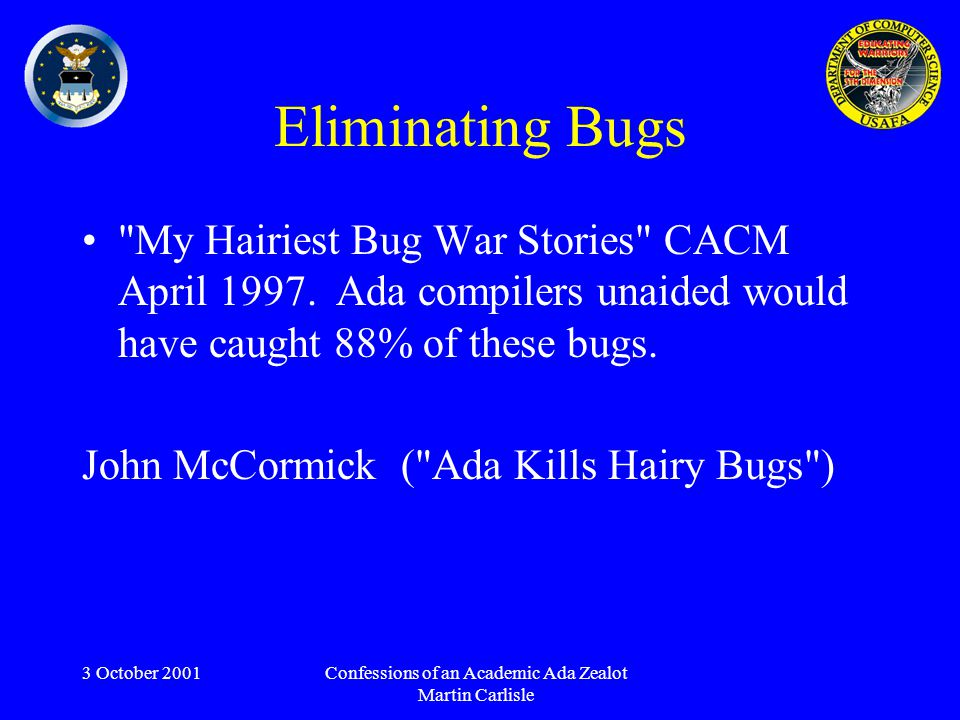 3 October 2001Confessions of an Academic Ada Zealot Martin Carlisle Eliminating Bugs My Hairiest Bug War Stories CACM April 1997.
