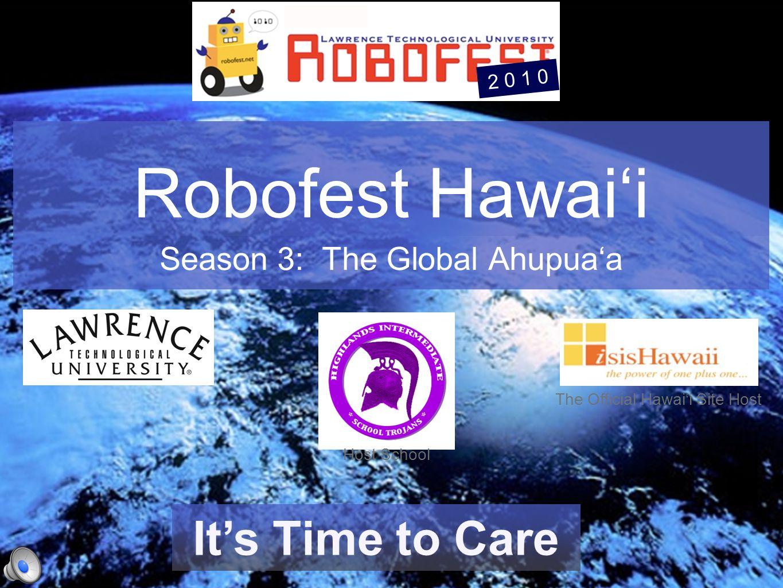 Robofest Hawai'i Season 3: The Global Ahupua'a The Hawaiian Spelling of Words: http://www.geocities.com/dhc2020/hawaiianspelling.htmhttp://www.geocities.com/dhc2020/hawaiianspelling.htm The Official Hawai'i Site Host robofest.net robofesthawaii.googlepages.com 2 0 1 0 Robofest and it's logo is a trademark of Lawrence Tech University Host School